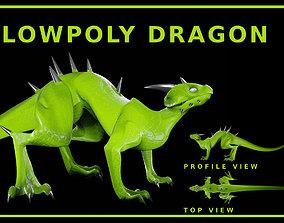3D model Lowpoly Rigged Lizard-Dragon
