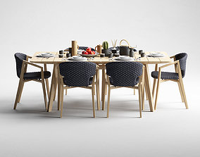 3D model Ethimo Knit dining armchair and rectangular table
