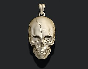 skull pendant with cracks 3D print model
