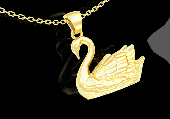 Male Swan pendant jewelry Gold 3D print model