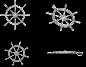 3D print model Ship Wheel Pendant