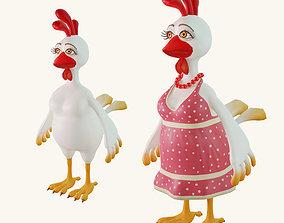 Stylized cartoon chicken 3D model