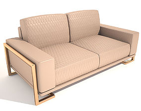 3D Sofa Gianna Leather LoveSeat in Peach RoseGold