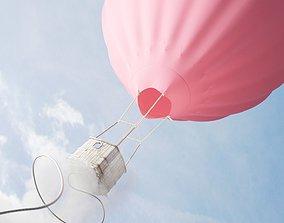 Cartoony hot air balloon 3D rigged