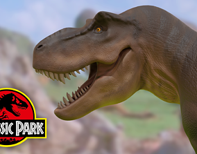 Jurassic Park T-Rex 3D model rigged