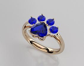 3D printable model luxury cat s paw ring
