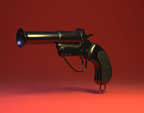 steel 3D model Flare Gun