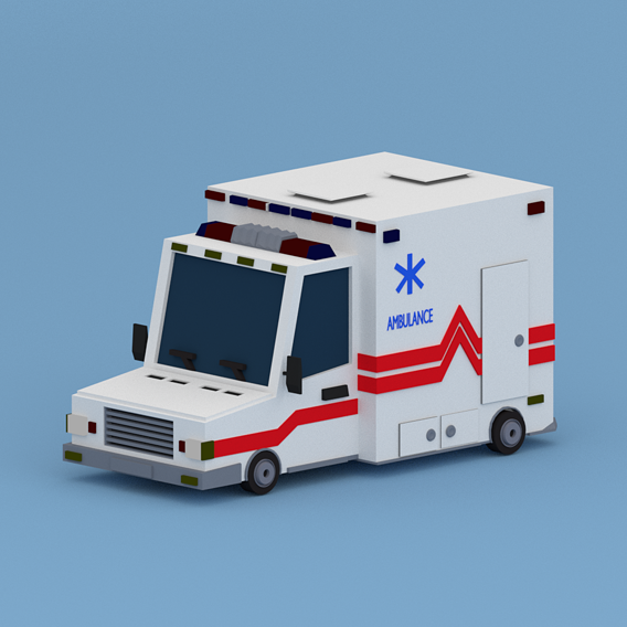 Cartoon Ambulance Low-poly