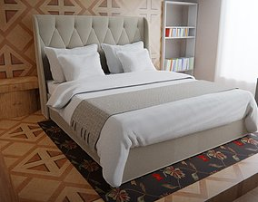 3D model bed with pillows and blanket