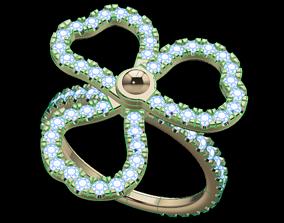 Floral Dainty Diamond Ring 3D printable model
