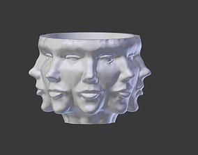woman Vase with Faces 3D Printable Model