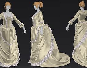Women s Noble Baroque Costume Marvelous Designer 3D model