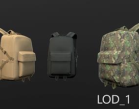Backpack 2 LODs 3 colors 3D model