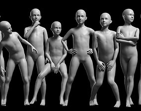 3D asset Animated Kid 7-20 Years Base Mesh - 8 poses