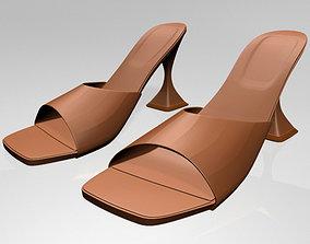 Square-Toe Spool-Heel Sandals 02 3D model
