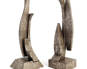 3D A set of two abstract sculptures