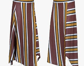 001287 lined skirt rotbrown yellow white and 3D asset