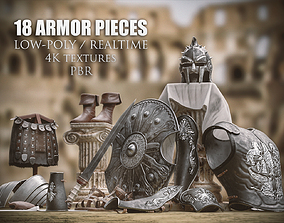 3D asset realtime Roman Gladiator Armor Collection