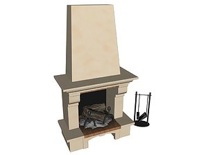 Fireplace 3D model firewood