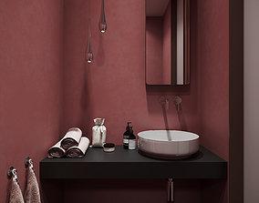 Red Bathroom Free 3D model