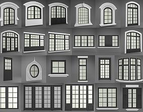 Classic arched jamb outdoor window-door set 3D