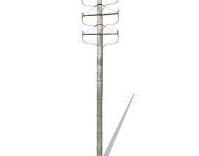 3D Electricity Pole 1 Weathered