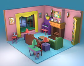 game-ready The Simpsons House Living Room 3D