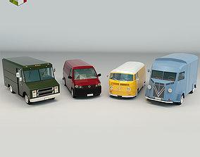 Low Poly Transporter Van Pack 3D samba