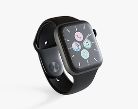3D asset low-poly Apple Watch Series 5 Black