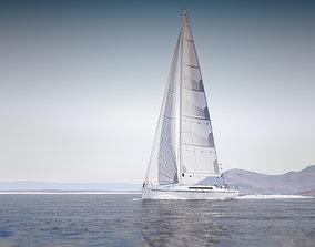 3D model Mid size sailing yacht copyrightfree