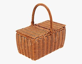 Wicker picnic basket 3D