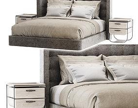 3D model Modern velour gray double bed GD25