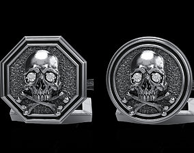 illustration 3D model skull cufflinks 2