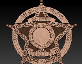ornate 3d STL Model Sheriff badge
