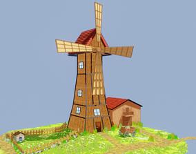 Moulin a vent cartoon 3D model