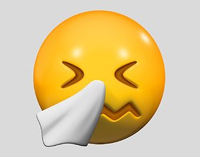 face 3D model Emoji Sneezing Face