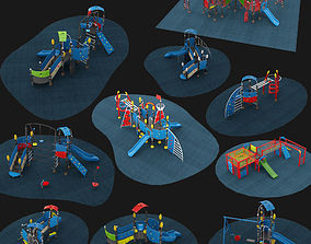 Outdoor Playground Collection 10 piece Set 3D