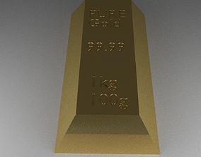 3D model Realistic Gold bar