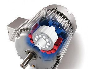 3D model AC asynchronous moving motor