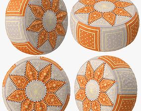 3D Beige Orange Moroccan Leather Pouf