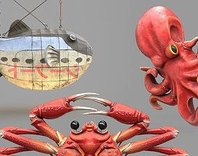Game Ready Japanese Signs Sea Creatures 3D asset