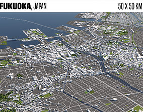 Fukuoka Japan 50x50km 3D model