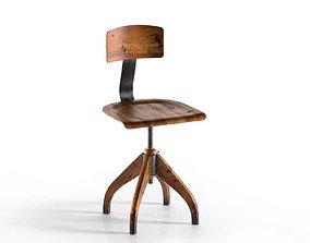 Vintage Bauhaus Oak Chair 3D