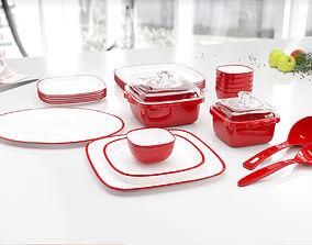 3D Red dish set