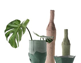 Paper Clay Vases with Monstera 3D paper