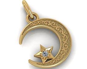Crescent moon and star muslim pendant 3D print model