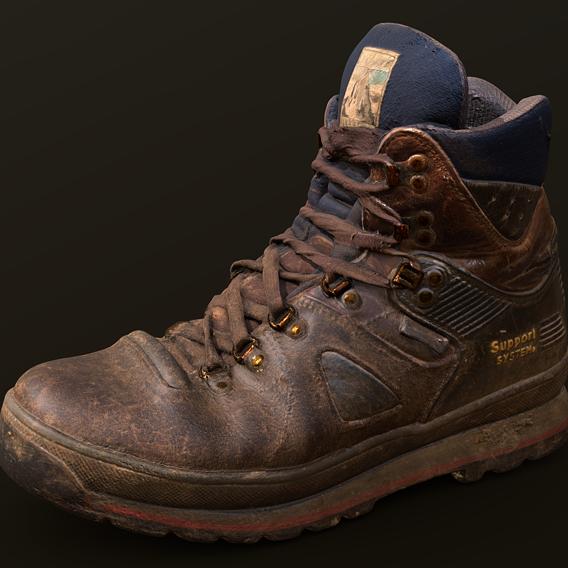 Photorealistic old hiking shoe