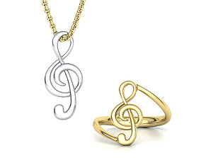 Music Note Treble Clef Note Set 3D