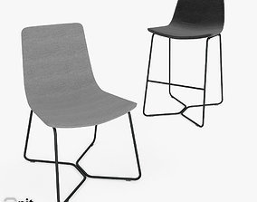 3D model Slope Chair and Stool by West Elm