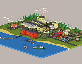 administrative buildings 3D asset low-poly